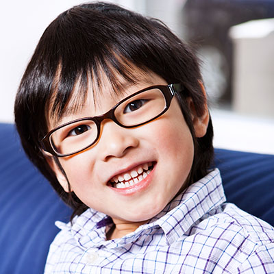 Child with glasses for myopia